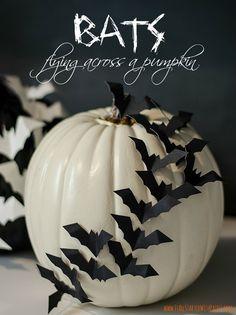 Halloween Pumpkin Craft Idea: Bats Flying Across a Pumpkin