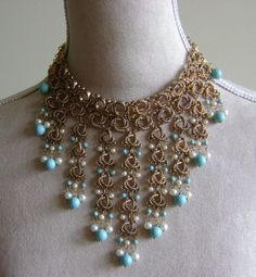Vintage Red Carpet Turquoise and Pearl Necklace. $99.00, via Etsy.