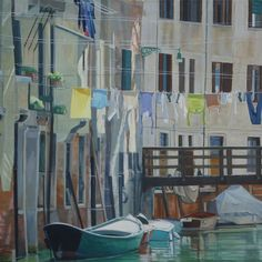 """A Change of Scene exhibit and sale at Framed Image. Venetian Flags"""" by Victoria Ekelund  30x30  SOLD www.FramedImage.net"""