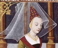 """En esta imagen se muestra el velo que cae sobre el hennin sujetado con un alambre o cable. La imagen es de Boccace's """"de mulieribus claris"""" alrededor de 1490."""