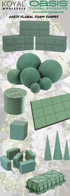 Oasis floral foam shapes - balls, cylinders, tiles, flower wall, caged foam, cubes, spheres, cones, and garlands