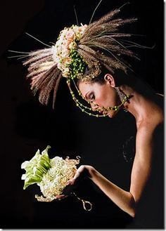 floral headpiece and bouquet
