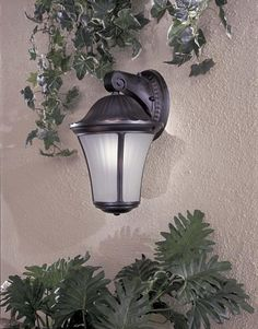 """Amarante Heritage 14 1/2"""" Outdoor Light by Minka Lavery. $76.00. From the Amarante collection by Minka-Lavery comes this lovely outdoor wall fixture. Its cast aluminum frame shines beautifully with a multi-step, hand-applied midnight heritage finish. A pressed straight etched optic glass delivers a warming glow.. Save 44% Off!"""
