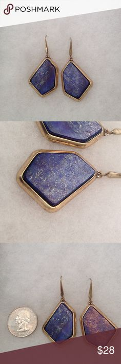 Steve Madden Statement Earrings New Stunning Earrings , Gold Tone Looks Like Antique Brass , Simulated Periwinkle Blue With Glittery Gold Specks , Even Better In Person !!! Steve Madden  Jewelry Earrings