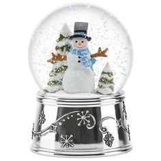 A Smiling Snowman Stands In The Midst Of Snow Covered Trees Inside The Snowman Holiday Musical Christmas Snow Globeschristmas