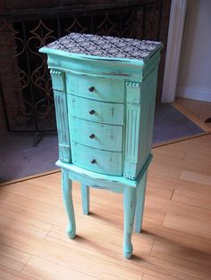 Hand Painted Beautiful X Large Tiffany Blue Wooden Jewelry Box / Jewelry Armoire…