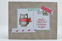 Lawn Fawn - Winter Owl, You've Got Mail, Ornate Ornaments;  Postcard by melindagleiss, via Flickr