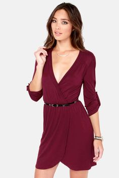Burgundy wrap dress, would match with black tights and peep toe boot heels #holidaywear #lulus
