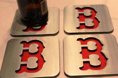 Boston Red Sox  Coasters Sox Boston Steel Metal by ApocalypseFab, $29.95