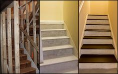 How to make the stairs to unfinished basement look good before you actually finish basement