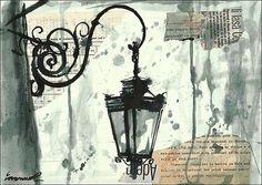 Imprimir arte lienzo collage de técnica mixta dibujo de por rcolo