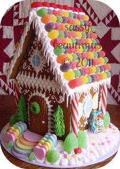 "Gingerbread House -- make for Christmas & keep through Valentine's or St Patrick's (note the ""rainbow"" roof & steps"