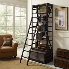 Depict the gentle flow of industrial modern decor with the Vermont shelving and ladder set. Constructed with solid pine wood shelves and a cast iron frame, Verm