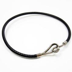 Hermes Metal Black Leather Necklace