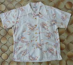 Rare Manhattan Vintage 1940s Men's Hawaiian Aloha Cabana shirt
