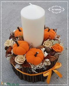 Fall Crafts, Diy And Crafts, Arts And Crafts, Fall Deco, Pillar Candles, Fabric Crafts, Halloween Party, Wreaths, Table Decorations