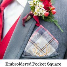 Flannel Wedding - Winter Wedding - Plaid Wedding - Pocket Square - Groom Boutonniere - Groomsmen Boutonniere