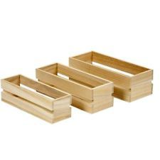 3 x Vintage Wooden Fruit Crates Boxes Storage Personalise Decorate Craft Garden. Stain and add glass jars for storage.