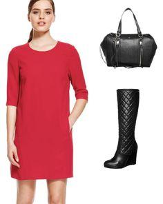 Look básico con vestido rojo, bolso negro y botas de caña alta con cuña. http://stylabel.com/style/basic-look/251