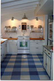 Gingham floor created with three colors of vinyl peel and stick floor tiles.