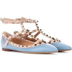 Valentino Valentino Garavani Rockstud Leather Ballerinas ($860) ❤ liked on Polyvore featuring shoes, flats, blue, leather ballet shoes, blue ballerina shoes, blue ballet flats, ballerina shoes and valentino flats