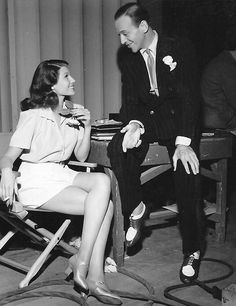"""tracylord: Rita Hayworth and Fred Astaire on set of """"You'll Never Get Rich"""" (1941)"""