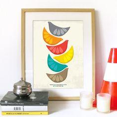 Cathrineholm inspired Birds Illustration - Mid Century design Art Print Poster in multicolor -