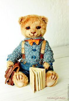 Купить Львёнок «Funny lion» Авторская работа. - белый, синий, джинс, оранжевый, бежевый, книга