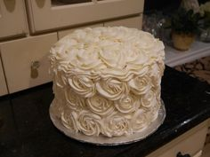 White Rose Cake with Pink Ombre Inside