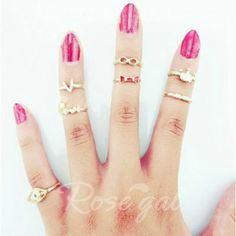 A Suit of Sweet English Letter Crown Rings For WomenRings | RoseGal.com