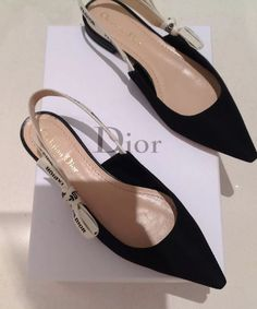 d012cb5d1d7 Details about BNIB SOLD OUT Christian Dior Jadior J Adior Black White Logo  Flats Shoes 38.5