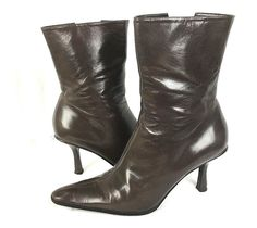 NINE WEST Boots Womens 8.5 Brown LEATHER Mid Calf Heels #NineWest #MidCalfBoots #WeartoWork