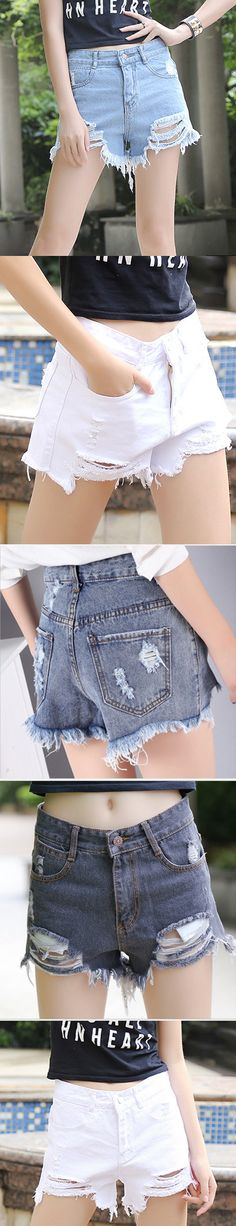 Go casual with these distressed denim shorts.Check more at www.azbro.com