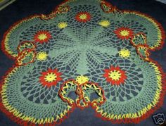 Hand Crocheted Doily. Colorful Fiesta by DonnasCrochetNook