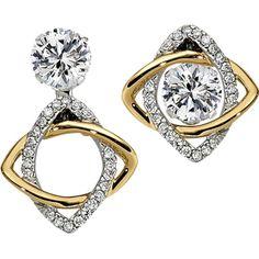 two-tone diamond convertible earring jackets. (studs sold separately) - http://www.burrijewelers.com/