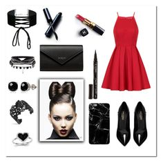 """""""Little bit of red"""" by xoxodalya ❤ liked on Polyvore featuring Chi Chi, Yves Saint Laurent, Balenciaga, Chanel, Clé de Peau Beauté, Miss Selfridge, Belk & Co., Kevin Jewelers and Smith & Cult"""