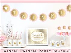 """Our pink and gold """"Twinkle, Twinkle Little Star"""" theme party decoration kit will sparkle at her baby shower or first birthday celebration. Create a trendy dessert table just like a pro! Fabulous Featu                                                                                                                                                      More"""