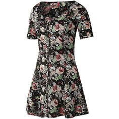 Adidas Selena Gomez Flower Dress ($28) ❤ liked on Polyvore featuring dresses, vestidos, black, adidas, floral print dress, black flower dress, fitted dresses and floral fitted dress