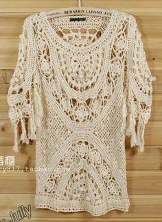 Irish crochet &: Очень красивая туника с подбором схем