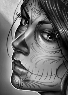 Day Of The Dead Drawing, Day Of The Dead Artwork, Day Of The Dead Girl, Day Of The Dead Skull, Skull Girl Tattoo, Girl Face Tattoo, Sugar Skull Tattoos, Chicano Tattoos, Chicano Art