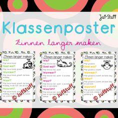 Poster: Zinnen langer maken Kids Writing, Spelling, Abs, Language, Classroom, Teaching, Education, Poster, Reading