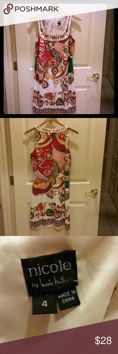 Nicole miller from Nordstrom Beautiful beaded neckline vibrant colors designer dress from Nicole miller.  Fully lined Nicole by Nicole Miller Dresses Midi