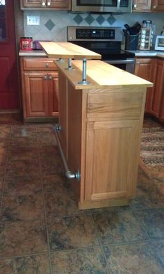 Kitchen Island/ breakfast bar with galvanized accents, side view - Limburg Studio $399