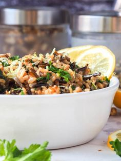 This vegan wild rice salad with walnuts, lemons, parsley and nutritional yeast makes for the perfect dinner side dish or even full entree. Gluten Free too. | avocadopesto.com