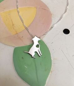 Sitting Pit Bull with Heart Sterling Silver Necklace and Charm
