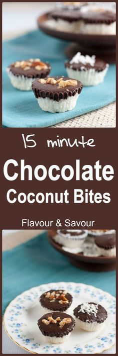 15-minute Dark Chocolate Coconut Bites. No refined sugar, no gluten, no dairy! Naturally sweetened little bites made with healthy dark chocolate.