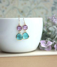 Bridesmaids Earrings. Wedding Gifts. Zircon Blue Glass Drop Earrings, Lavender, Lilac Purple Dangle Earrings. Modern Wedding. Blue Wedding
