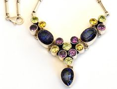Mystic Topaz, Amethyst and Facet cut Citrine Necklace with Sterling Silver chain Handmade Bauble Necklace
