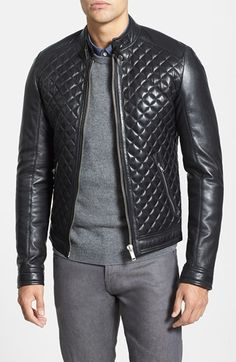 Free shipping and returns on LaMarque Quilted Lambskin Leather Moto Jacket at Nordstrom.com. Smooth yokes and sleeves offer polished contrast to the diamond-quilted core of a supple leather jacket topped with a stand collar. Dual-snap tabs detail the zipped cuffs.