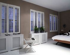 Full height shutters cover the full height of the window, this is our most popular and flexible installation styles offered by plantation shutters. Home Goods Decor, Home Deco, Interior Design Courses, Window Decor, House, Interior, Curtains With Blinds, New Homes, Full Height Shutters
